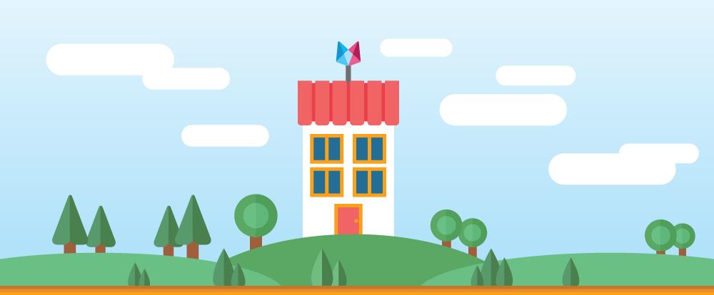 imagem de uma casa no alto de uma colina