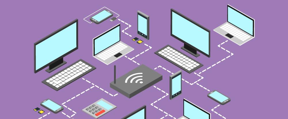 imagem de vários computadores e celulares ligados à internet