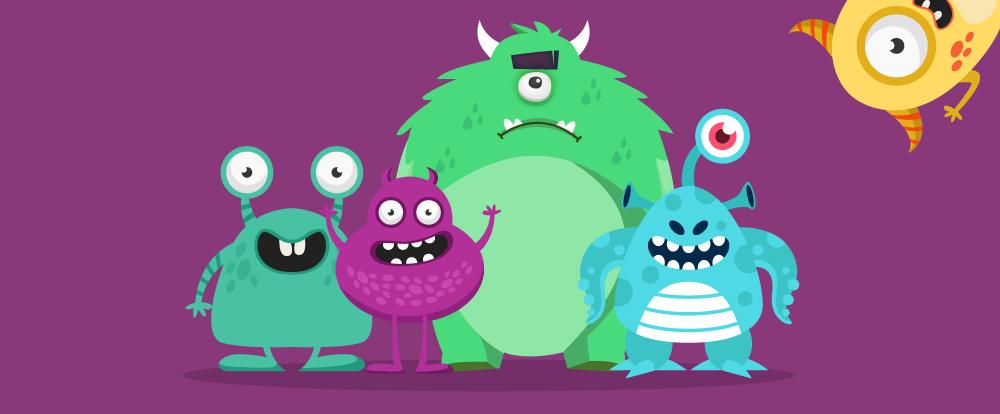 imagem de cinco monstros representando o medo na adoção de tecnologia em eventos