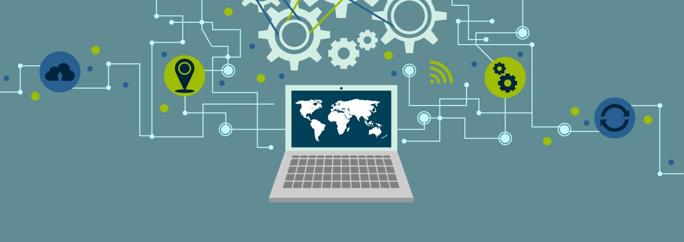 imagem de um celular e um computador ligando-se com diversas ideias e novidades tecnológicas