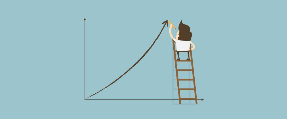 imagem de um homem em uma escada construindo um gráfico crescente