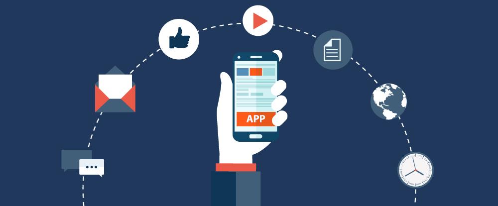 imagem de uma pessoa segurando um aplicativo rodeado por suas funcionalidades e recursos