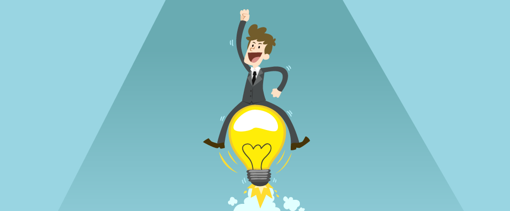 imagem de um homem subindo em uma lâmpada como se fosse um foguete