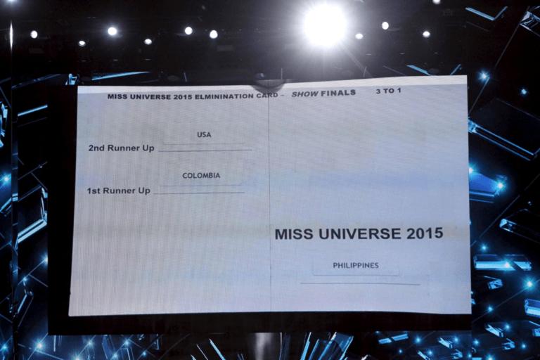 exemplo de crachá Miss universe 2015