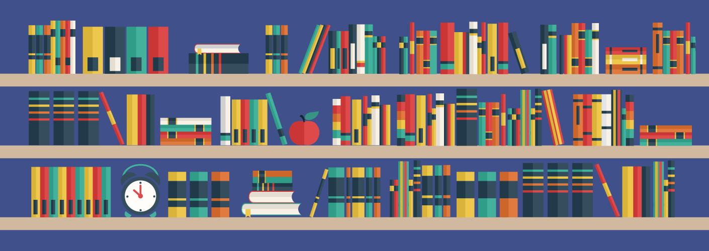 imagem de uma estante de livros, demostrando o storytelling de eventos