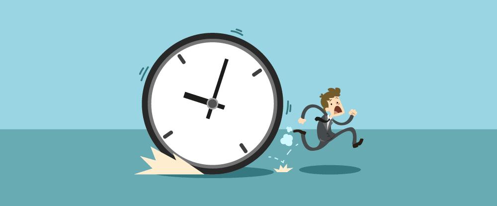 imagem de um homem correndo de um relógio, do tempo