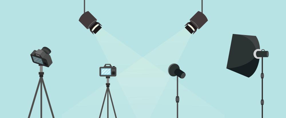 imagem de um set de filmagem representando a transmissão ao vivo em eventos