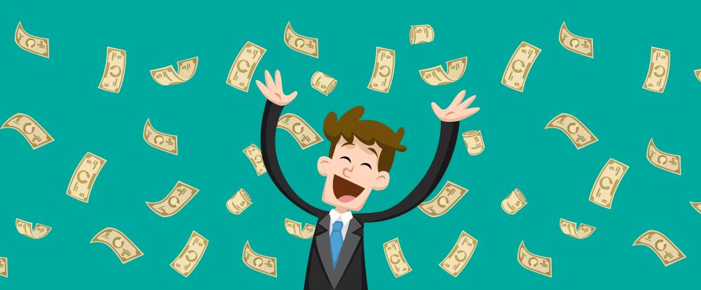 imagem de um homem recebendo uma chuva de dinheiro