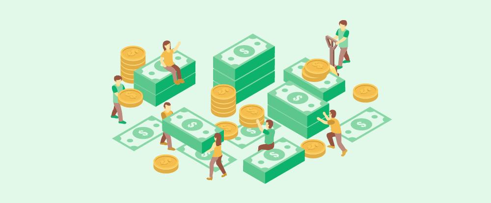 imagem de muitas pessoas juntando dinheiro