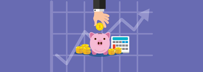 imagem representando um homem colocando dinheiro em um cofrinho