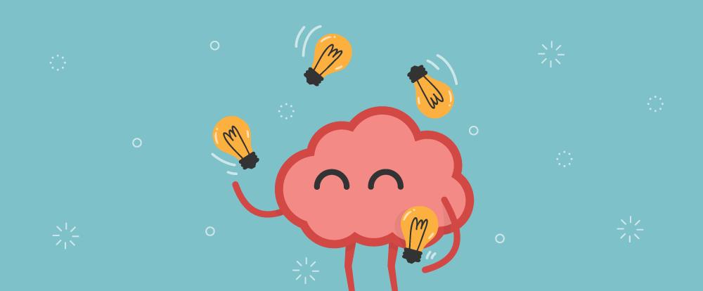 imagem de um cérebro fazendo fazendo malabarismo com lâmpadas representando as soluções de logística de eventos