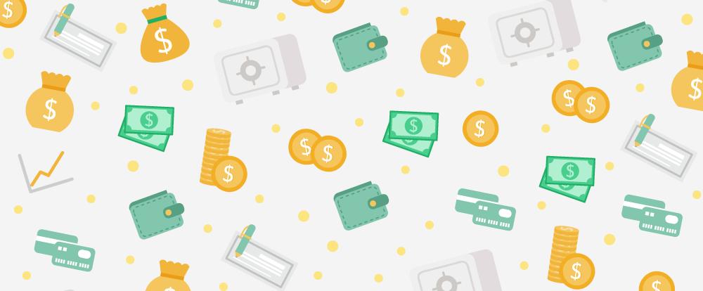 imagem de moedas, cartões e dinheiro espalhados