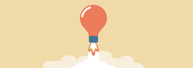 imagem de uma lâmpada decolando como um foguete para representar como expor em feiras