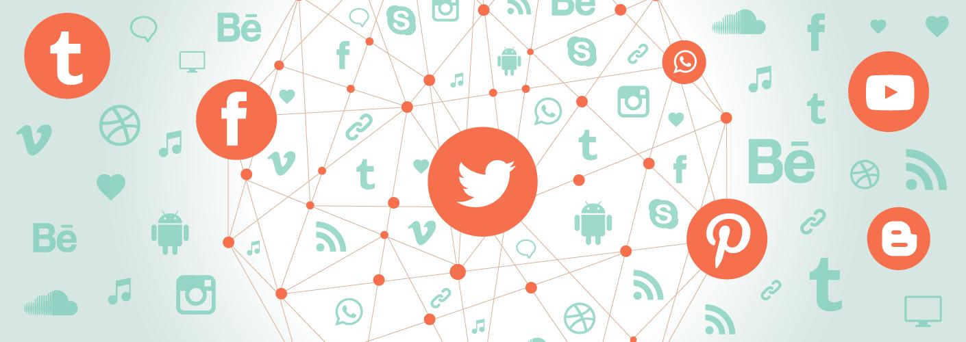 imagem de diversas redes sociais interligadas entre si