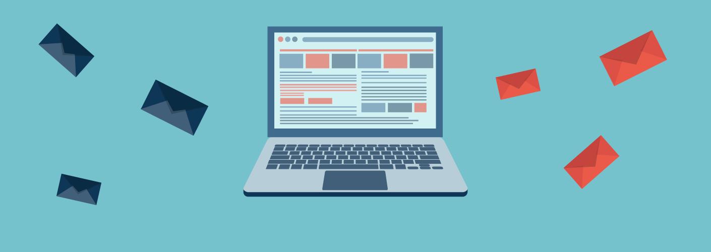 imagem representando campanhas de email marketing para organizadores de eventos com computador e envelopes