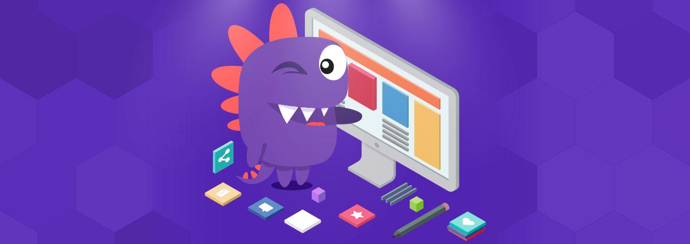 imagem de um dinossauro construindo um site para eventos