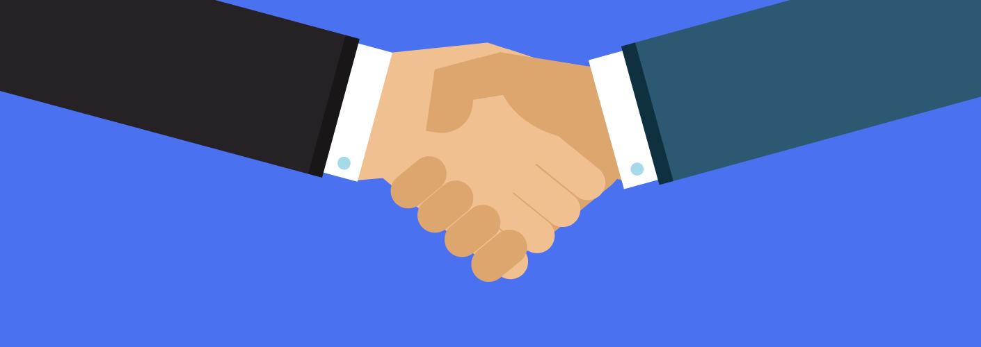 imagem de dois homens gerando negócios e apertando mãos