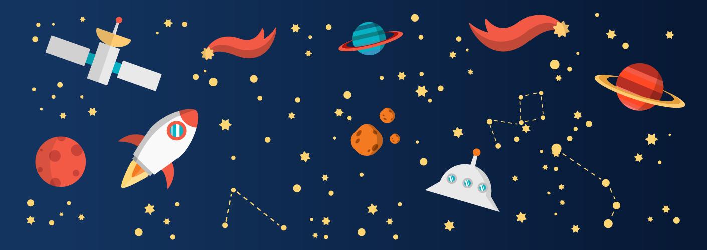 imagem do universo com foguetes e estrelas
