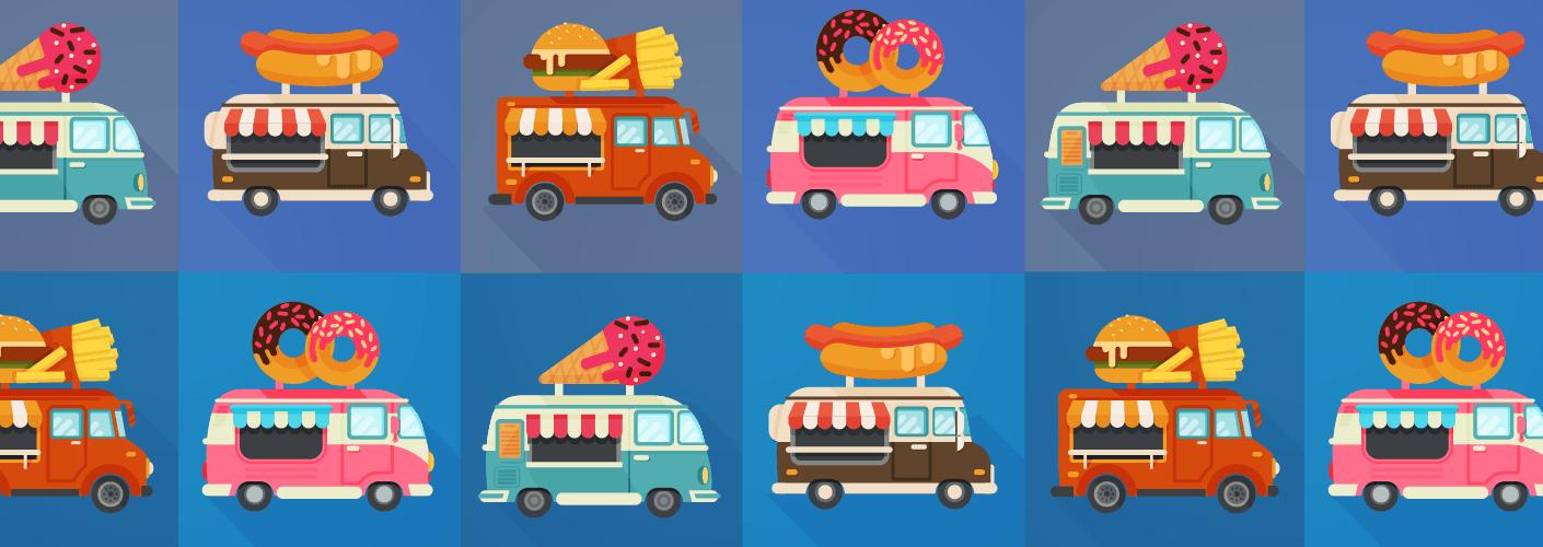 imagem representando diversos tipos de food trucks em eventos
