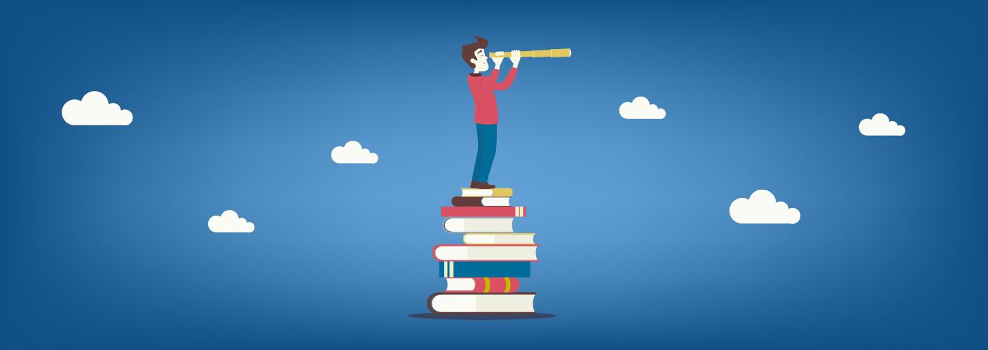 imagem representando um homem entendendo a diferença entre os tipos de eventos, consultando livros e buscando com uma luneta