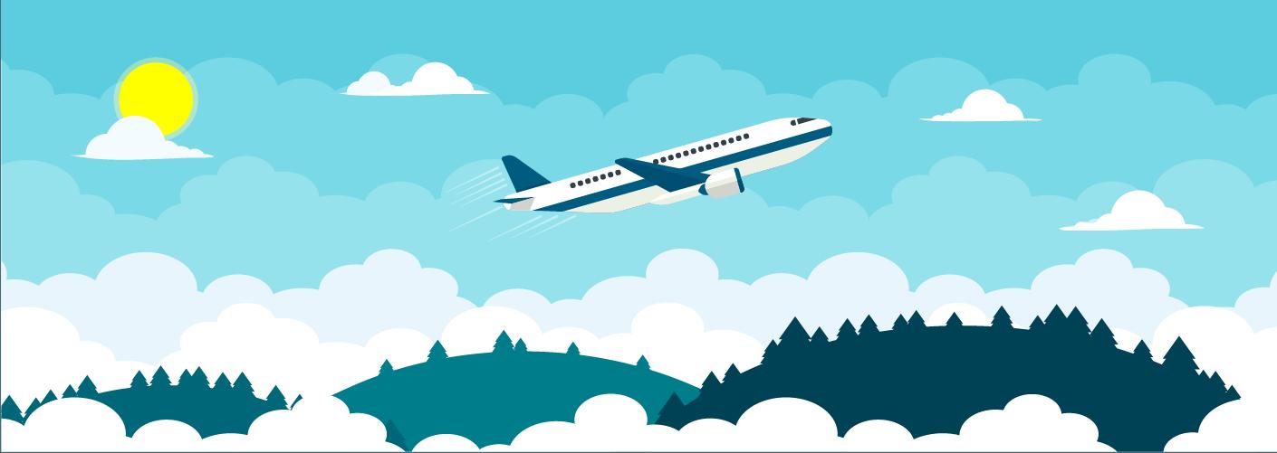 imagem representando um avião e viagens para eventos