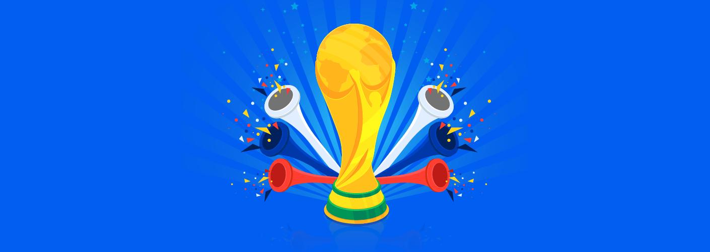 imagem da taça da copa do mundo na Rússia com vuvuzelas