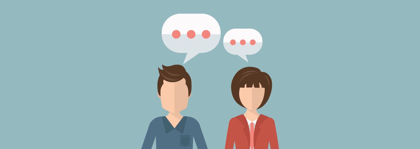 imagem de um homem e uma mulher trocando ideias e conversando em um evento representando o networking em eventos