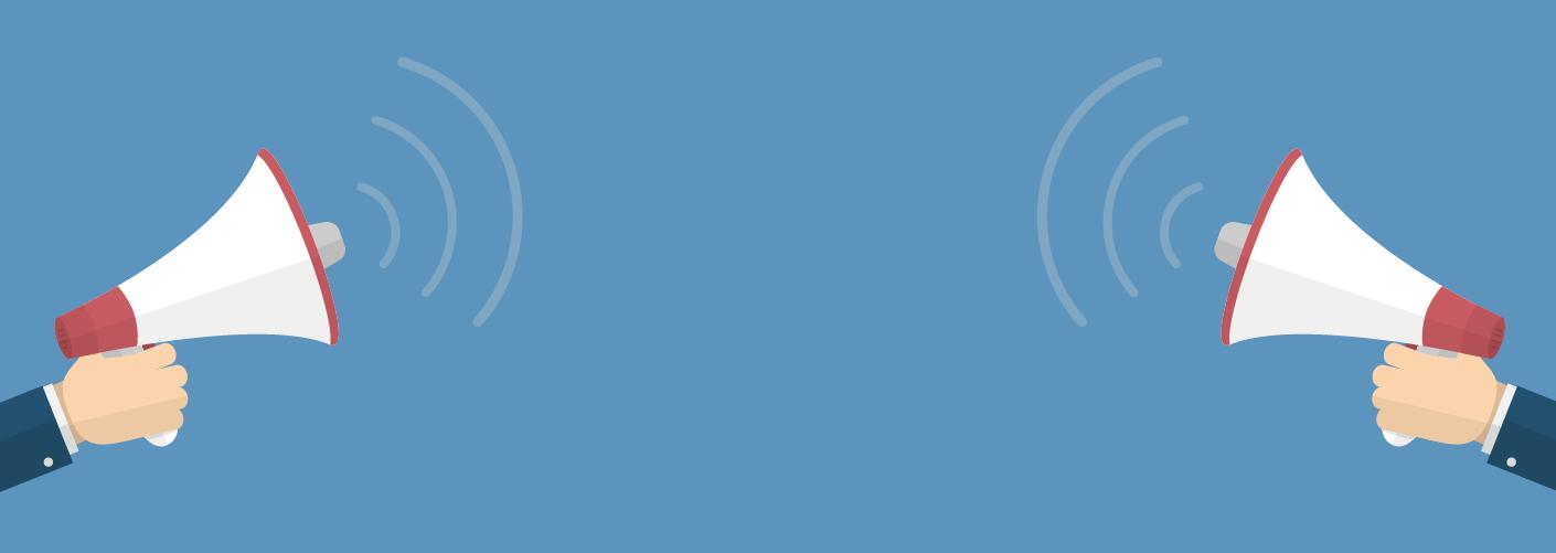 imagem de dois megafones sendo segurados por dois homens