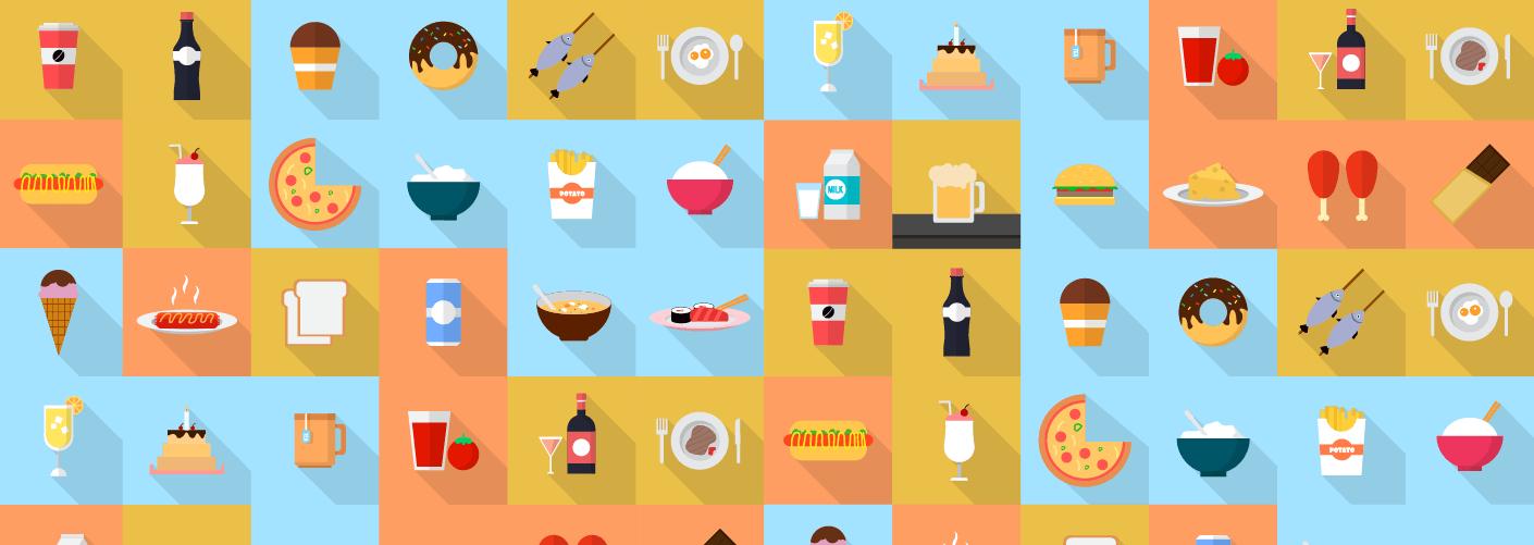 imagem com diferentes tipos de comida representando o buffet em eventos