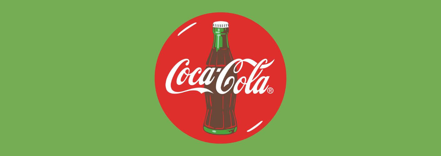 imagem do logo da coca-cola e uma garrafa da bebida