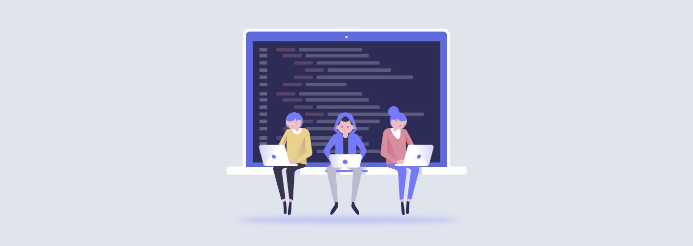 imagem de três organizadores de eventos organizando e planejando no computador