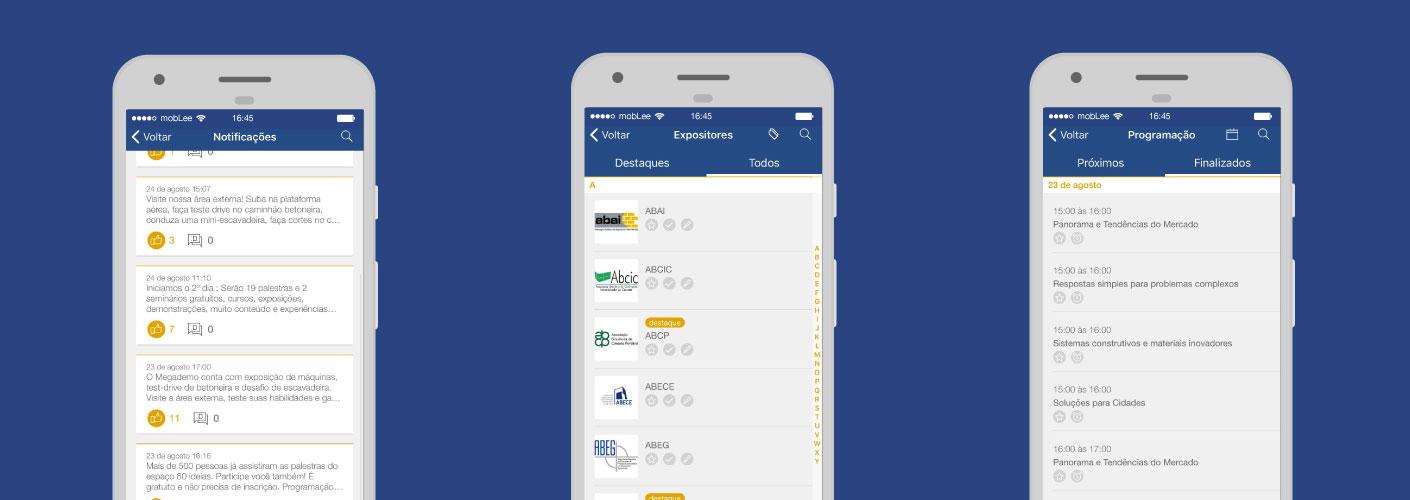 imagem representando três telas do aplicativo da mobLee utilizado no evento da Concret Show