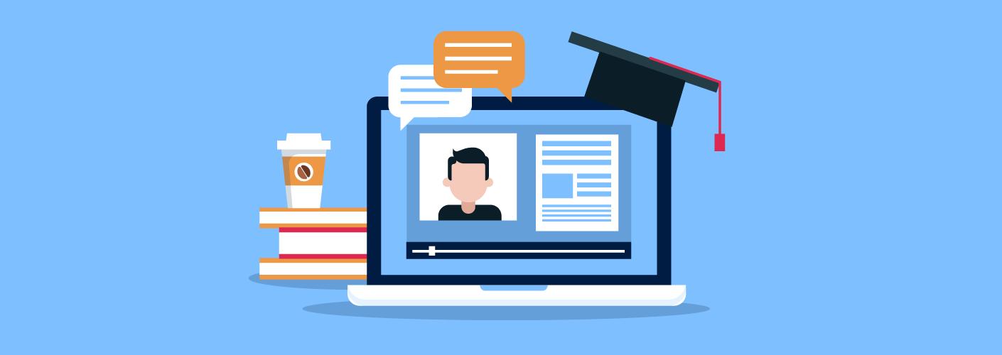 imagem de um computador com livros, conversas e chapeu de formatura