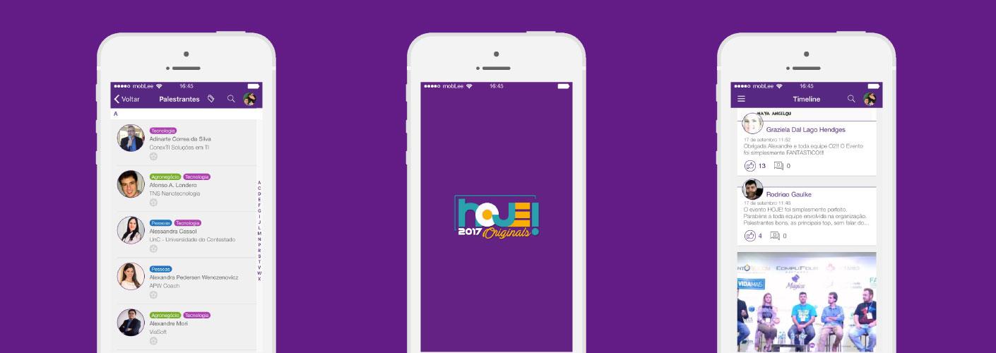 imagem de três telas do aplicativo utilizado pelo evento hoje da o2 multicomunicaçao
