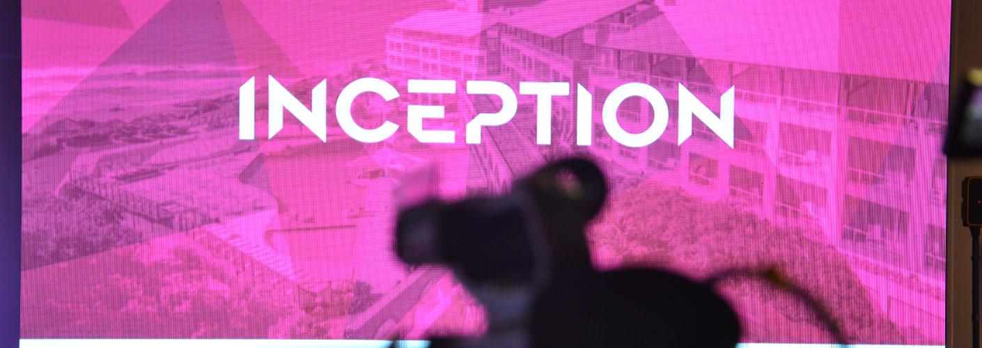 imagem do telão do inception por trás das cameras