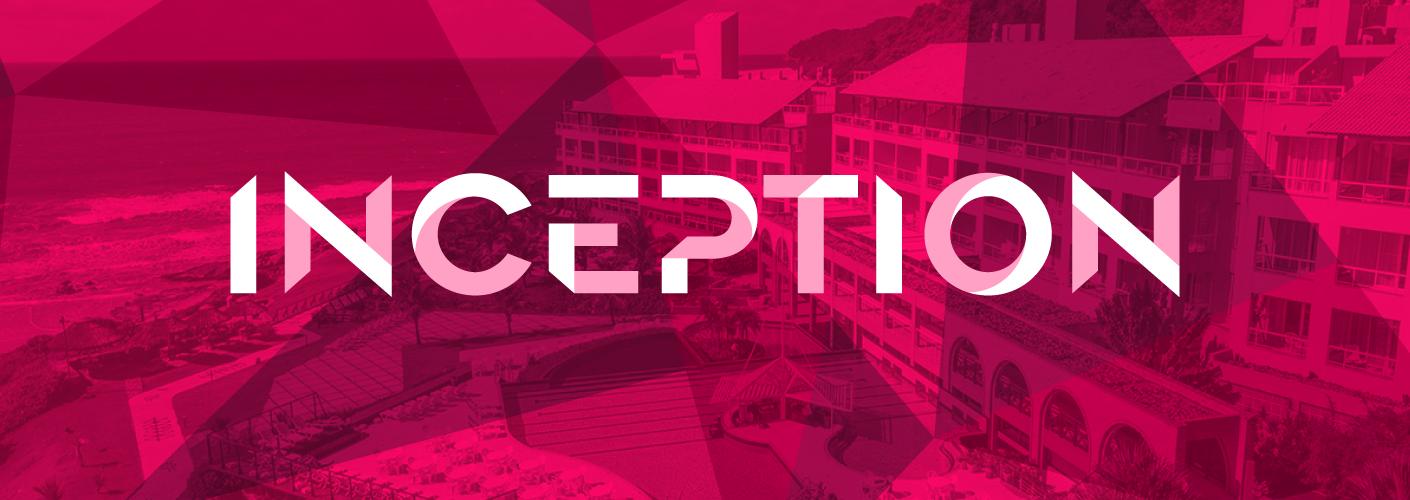 imagem do local do evento inception costao do santinho e o logo do evento