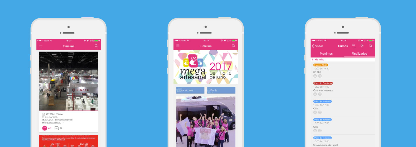 imagem representando três telas do aplicativo da mega artesanal