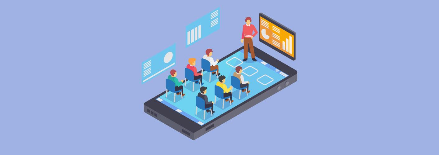 imagem de várias pessoas prestando atenção em uma palestra e um celular com aplicativos embaixo delas