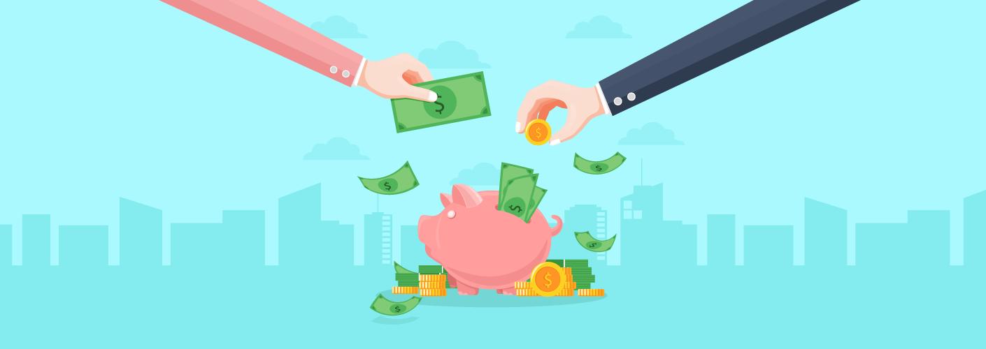 imagem de dois patrocinadores dando dinheiro para aumentar a receita de um evento em um porquinho de cofrinho
