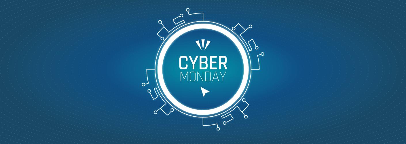 imagem com simbolos de tecnologia e a palavra cyber monday