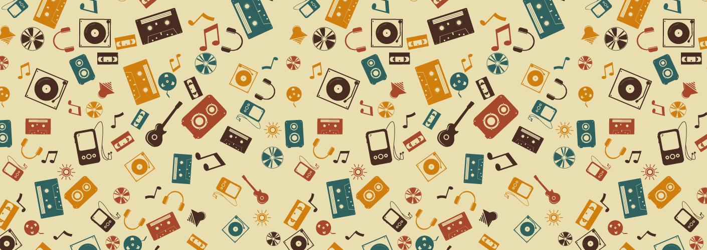pattern com instrumentos musicais representando a música para eventos corporativos feiras e congressos