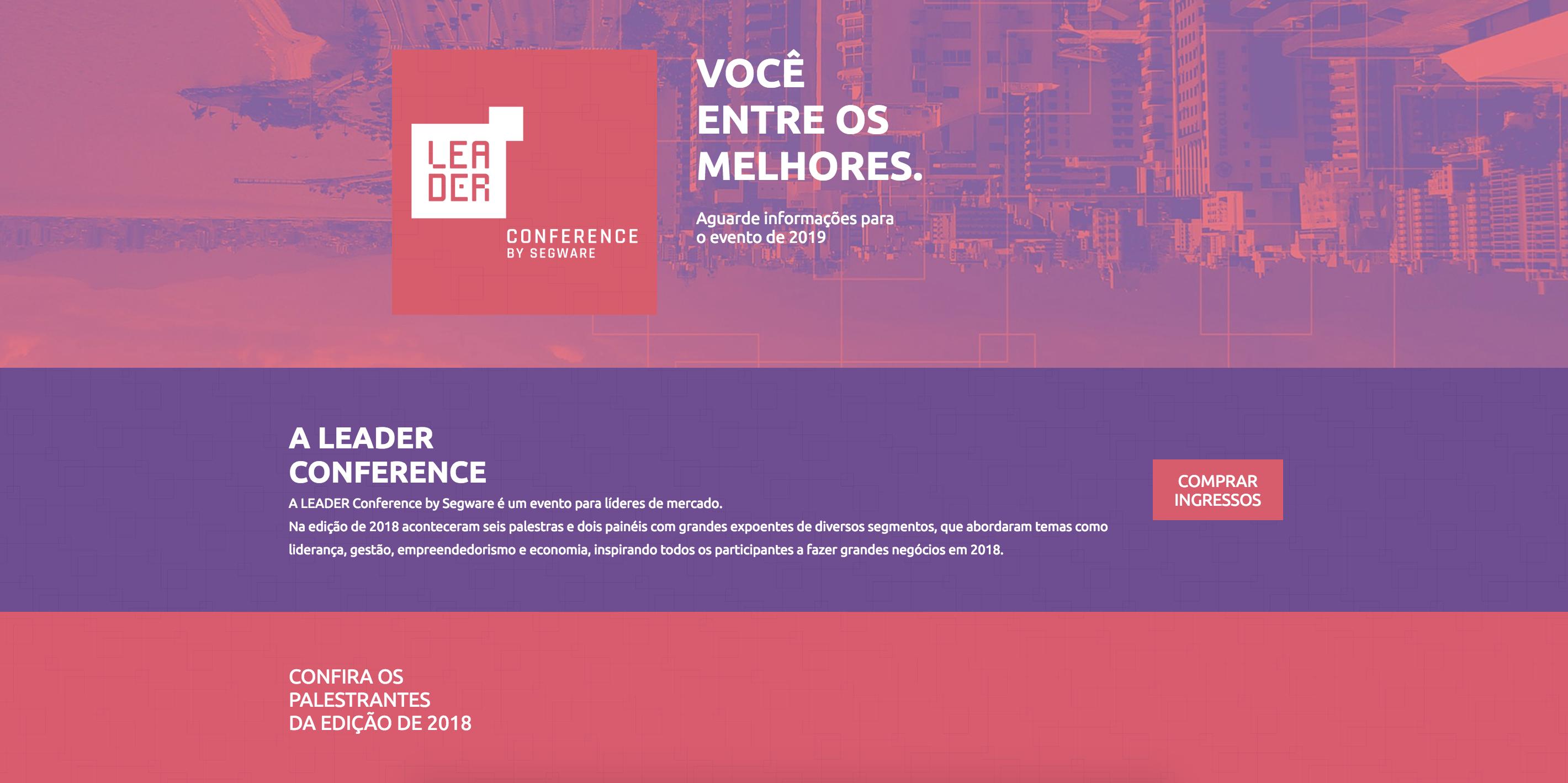 Primeira dobra do site do evento Leader Conference