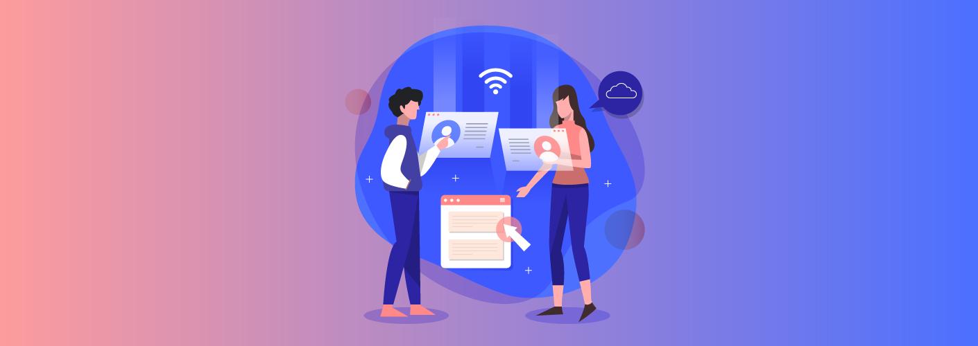 imagem representando duas pessoas participantes buscando por eventos de marketing digital