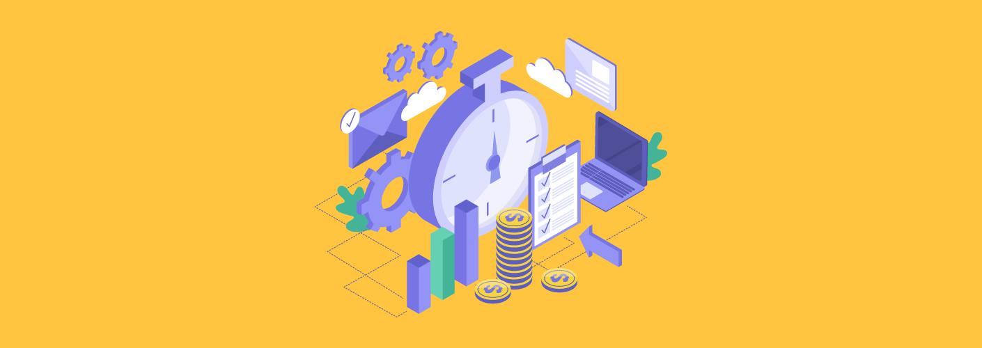 imagem de documentos relógios dinheiros representando a gestão financeira de um evento