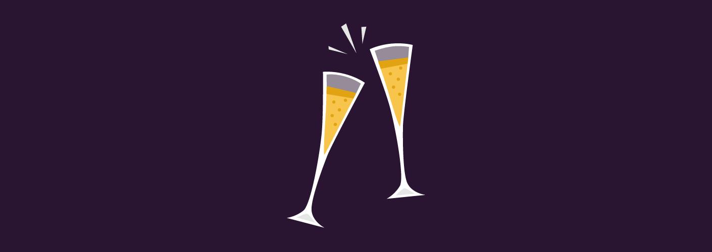imagem de duas taças de campagne representando o evento de final de ano da sua empresa