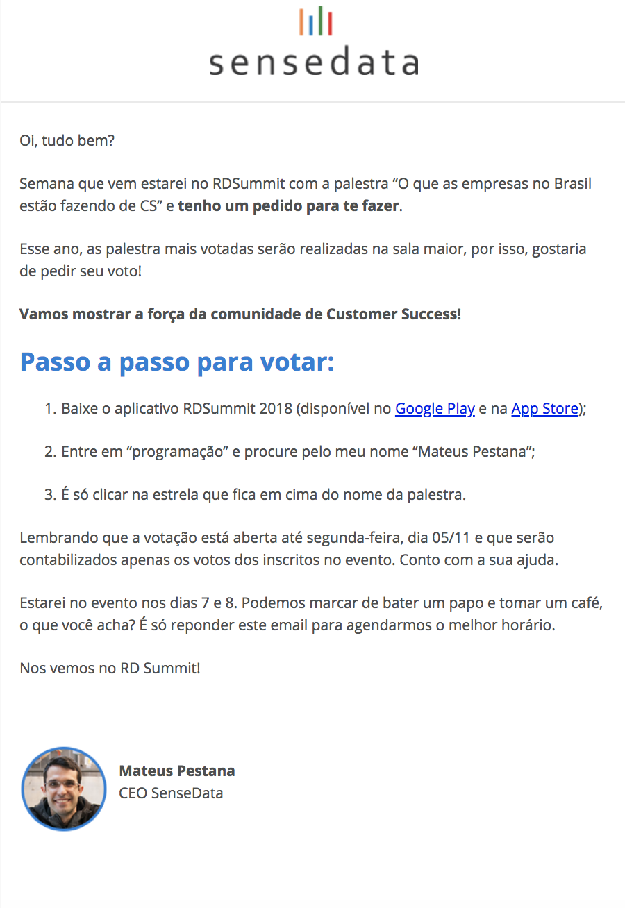 e-mail da sensedata do mateus pestana para os participantes do rd summit