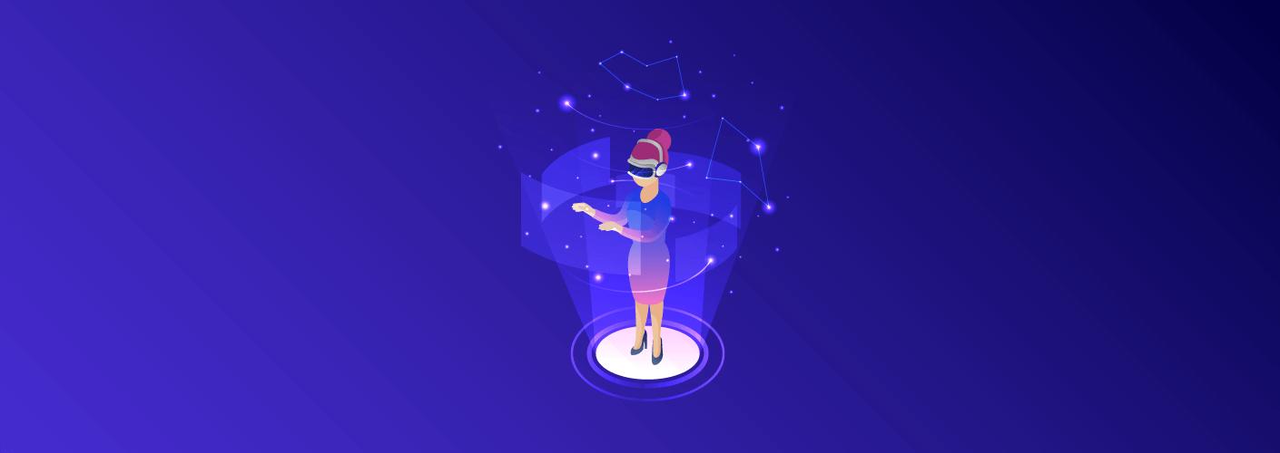 personagem usando realidade virtual para eventos