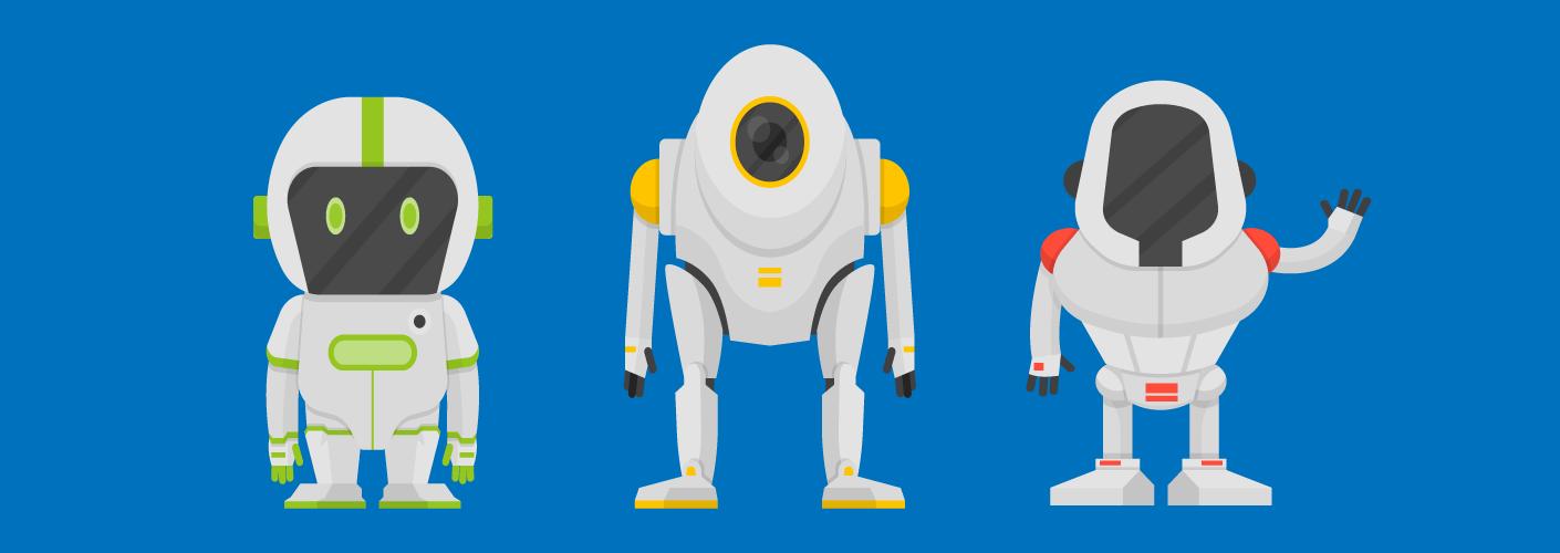 robôs representando uma feira de tecnologia