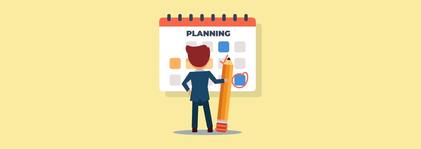 Profissional de planner de eventos pensando no seu calendário
