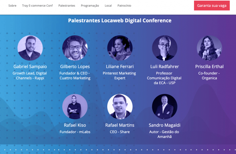 Divulgação dos palestrantes Locaweb Curitiba